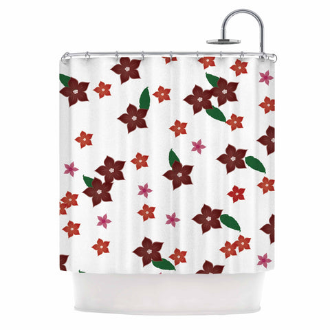 "NL Designs ""Holiday Floral"" White Pattern Shower Curtain - KESS InHouse"