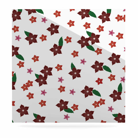 "NL Designs ""Holiday Floral"" White Pattern Luxe Square Panel - KESS InHouse  - 1"