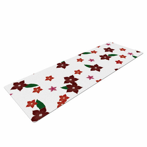 "NL Designs ""Holiday Floral"" White Pattern Yoga Mat - KESS InHouse  - 1"