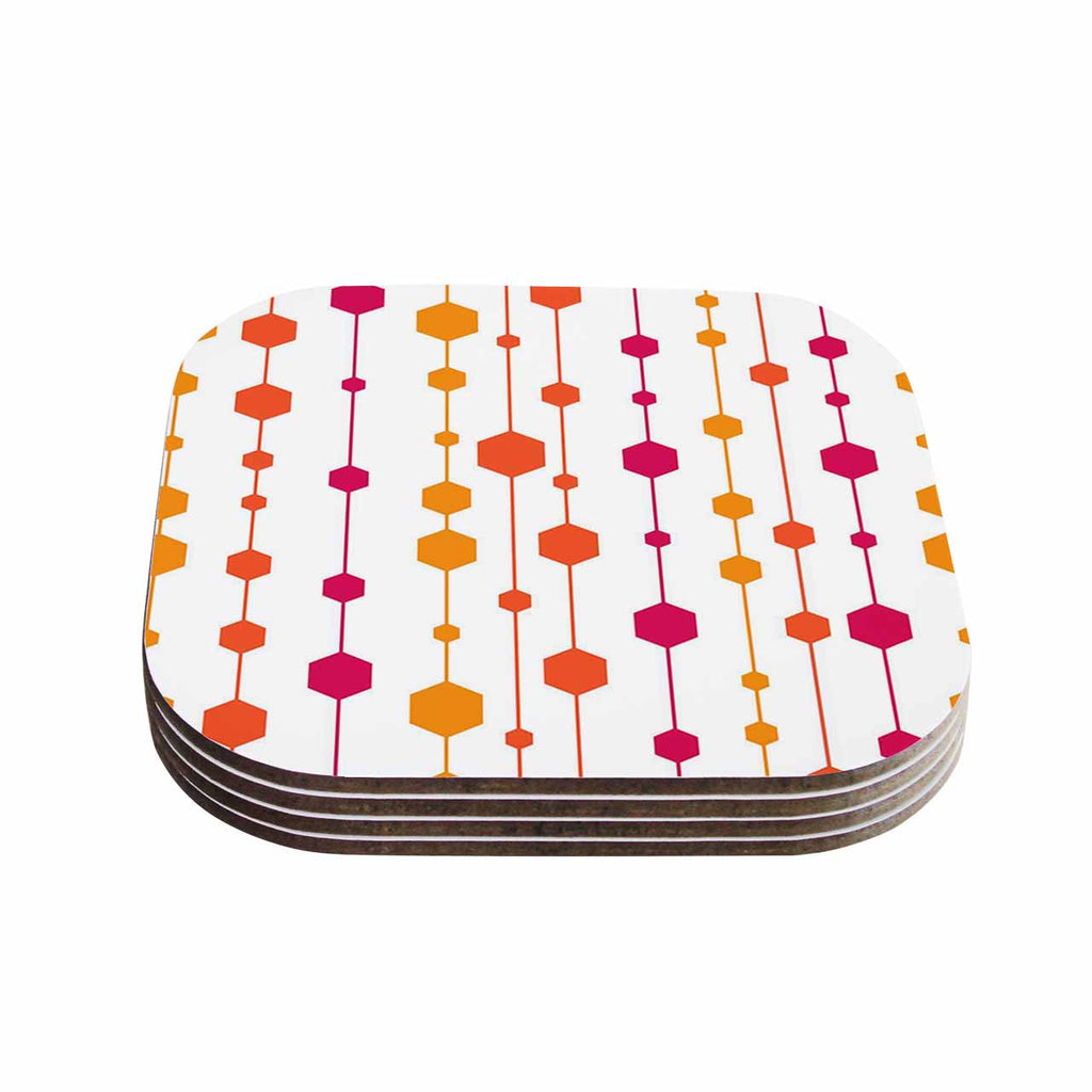 "NL Designs ""Warm Dots"" White Pattern Coasters (Set of 4)"