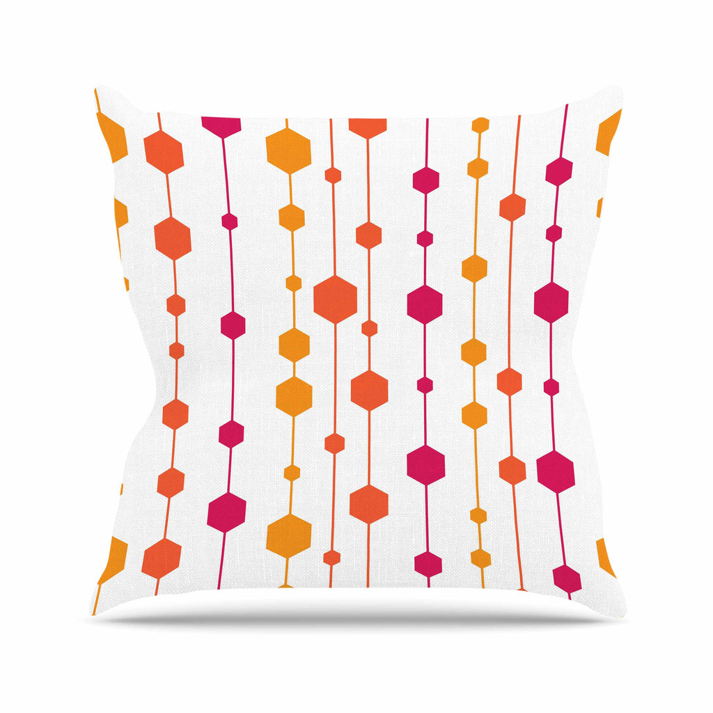 "NL Designs ""Warm Dots"" White Pattern Outdoor Throw Pillow - KESS InHouse  - 1"