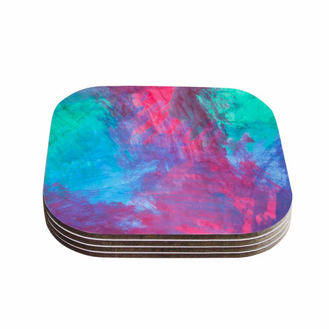 "NL Designs ""Bold Choice"" Teal Painting Coasters (Set of 4)"