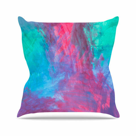 "NL Designs ""Bold Choice"" Teal Painting Outdoor Throw Pillow - KESS InHouse  - 1"