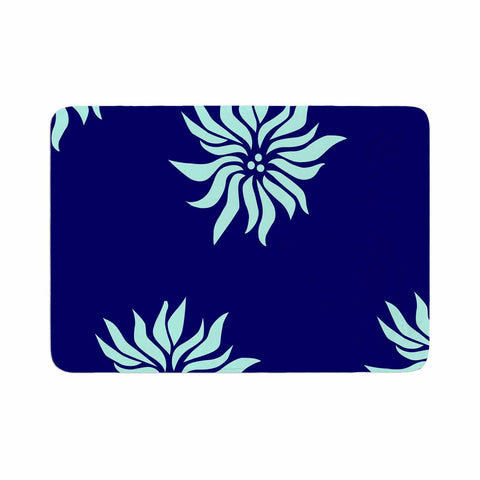 "NL Designs ""Snow Flowers"" Blue Aqua Memory Foam Bath Mat - KESS InHouse"