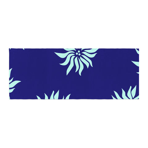 "NL Designs ""Snow Flowers"" Blue Aqua Bed Runner - KESS InHouse"