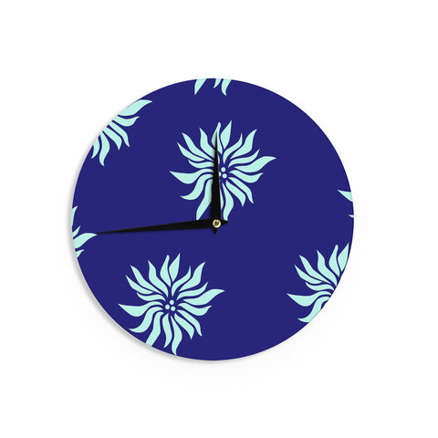 "NL Designs ""Snow Flowers"" Blue Aqua Wall Clock - KESS InHouse"