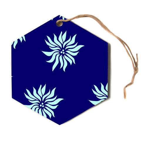 "NL designs ""Snow Flowers"" Blue Aqua Hexagon Holiday Ornament"
