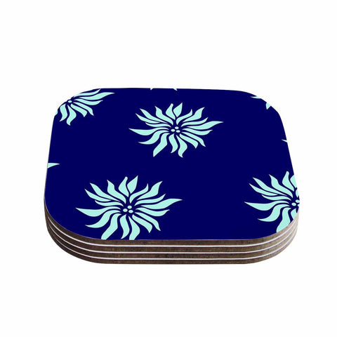 "NL Designs ""Snow Flowers"" Blue Aqua Coasters (Set of 4)"