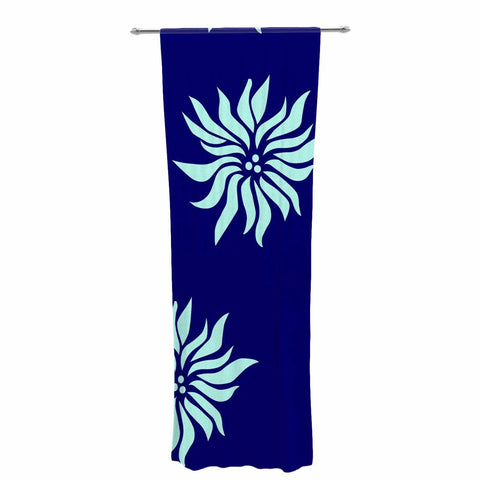 "NL Designs ""Snow Flowers"" Blue Aqua Decorative Sheer Curtain - KESS InHouse  - 1"