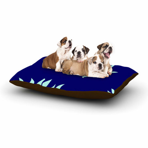 "NL Designs ""Snow Flowers"" Blue Aqua Dog Bed - KESS InHouse  - 1"