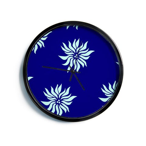 "NL Designs ""Snow Flowers"" Blue Aqua Modern Wall Clock"