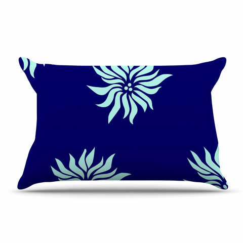 "NL Designs ""Snow Flowers"" Blue Aqua Pillow Sham - KESS InHouse"