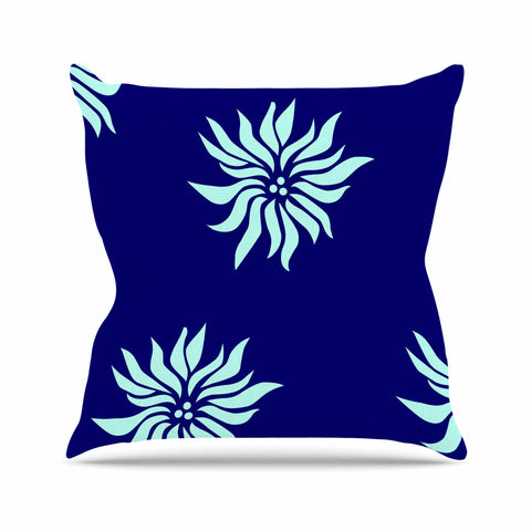 "NL Designs ""Snow Flowers"" Blue Aqua Throw Pillow - KESS InHouse  - 1"