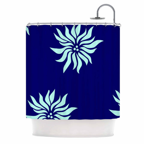 "NL Designs ""Snow Flowers"" Blue Aqua Shower Curtain - KESS InHouse"