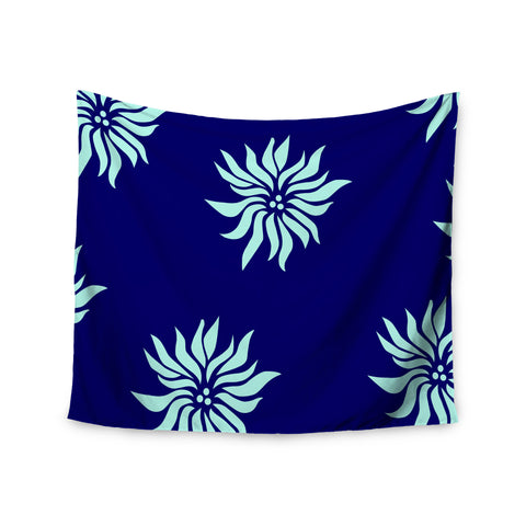 "NL Designs ""Snow Flowers"" Blue Aqua Wall Tapestry - KESS InHouse  - 1"