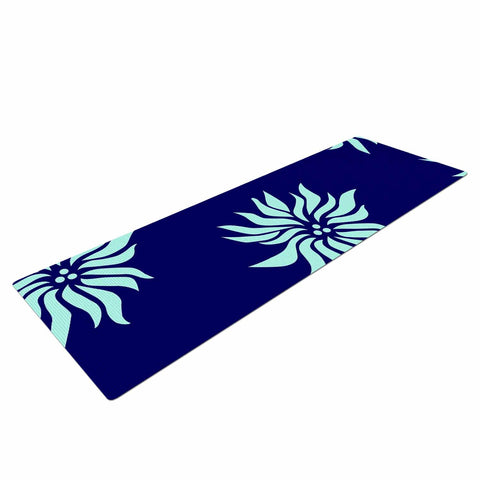 "NL Designs ""Snow Flowers"" Blue Aqua Yoga Mat - KESS InHouse  - 1"