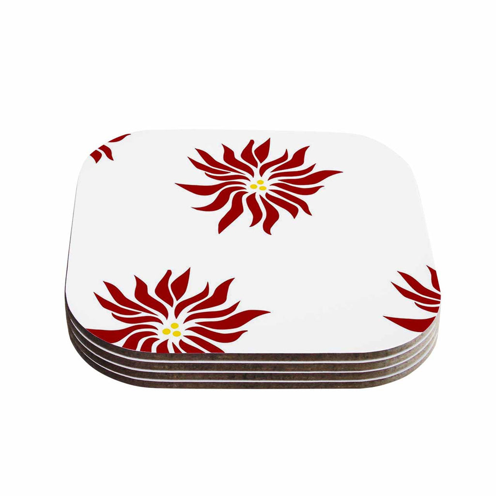 "NL Designs ""White Poinsettias"" Maroon Floral Coasters (Set of 4)"