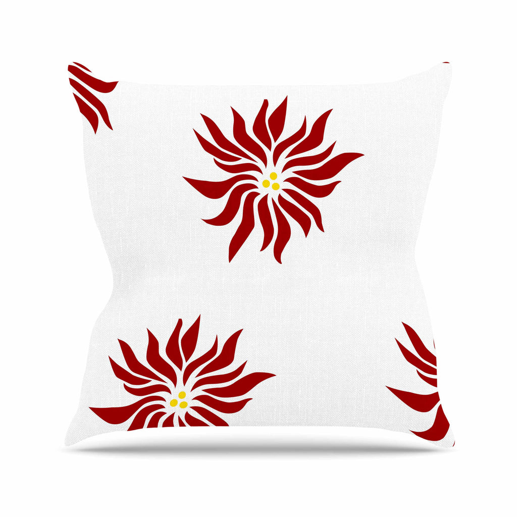 "NL Designs ""White Poinsettias"" Maroon Floral Outdoor Throw Pillow - KESS InHouse  - 1"