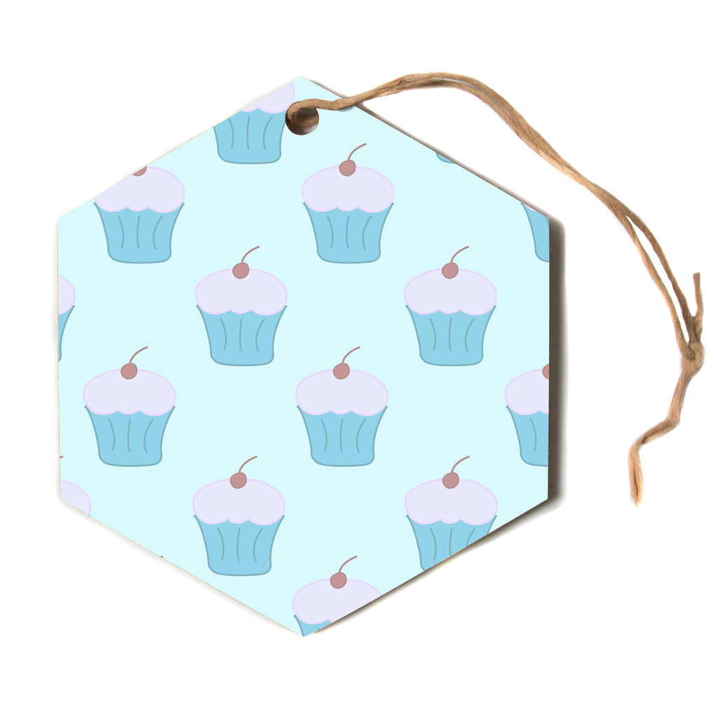 "NL designs ""Blue Cupcakes"" Pastel Food Hexagon Holiday Ornament"