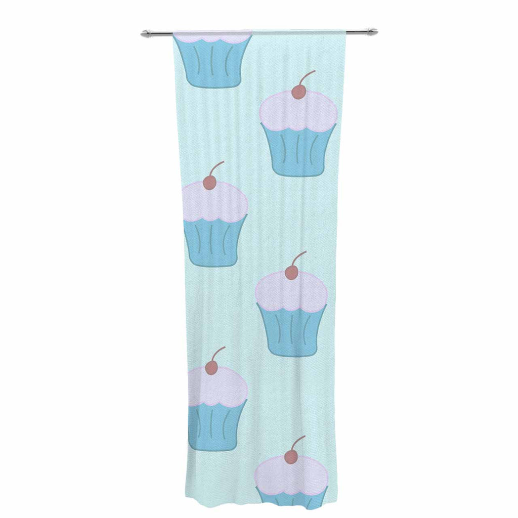 "NL Designs ""Blue Cupcakes"" Pastel Food Decorative Sheer Curtain - Outlet Item"