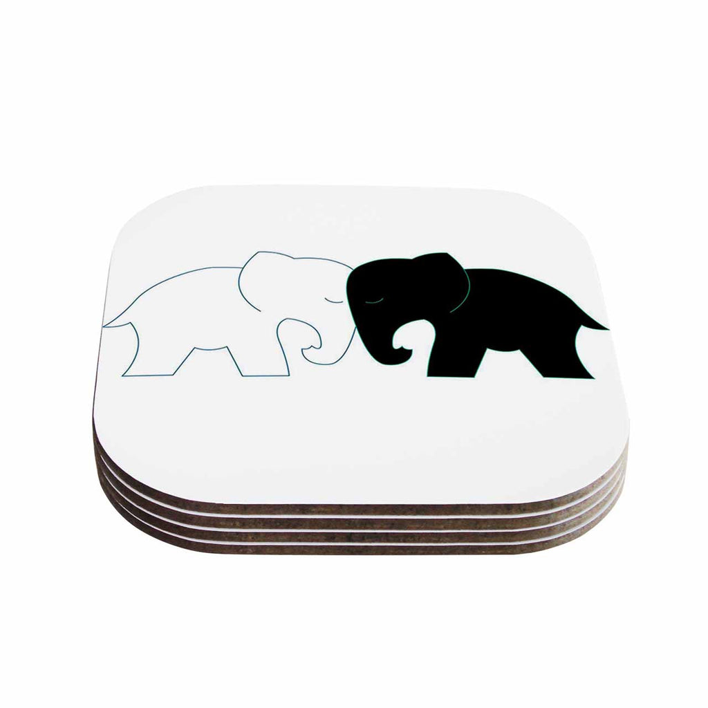 "NL Designs ""Black And White Elephant Love"" Black White Coasters (Set of 4)"