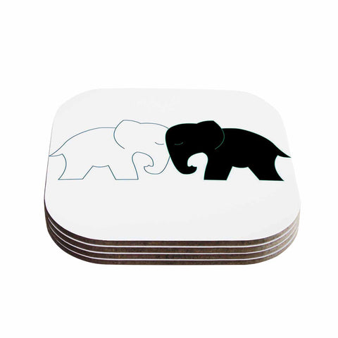 "NL Designs ""Black And White Elephant Love"" Black White Coasters (Set of 4) - Outlet Item"