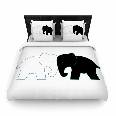 "NL designs ""Black And White Elephant Love"" Black White Woven Duvet Cover - Outlet Item"