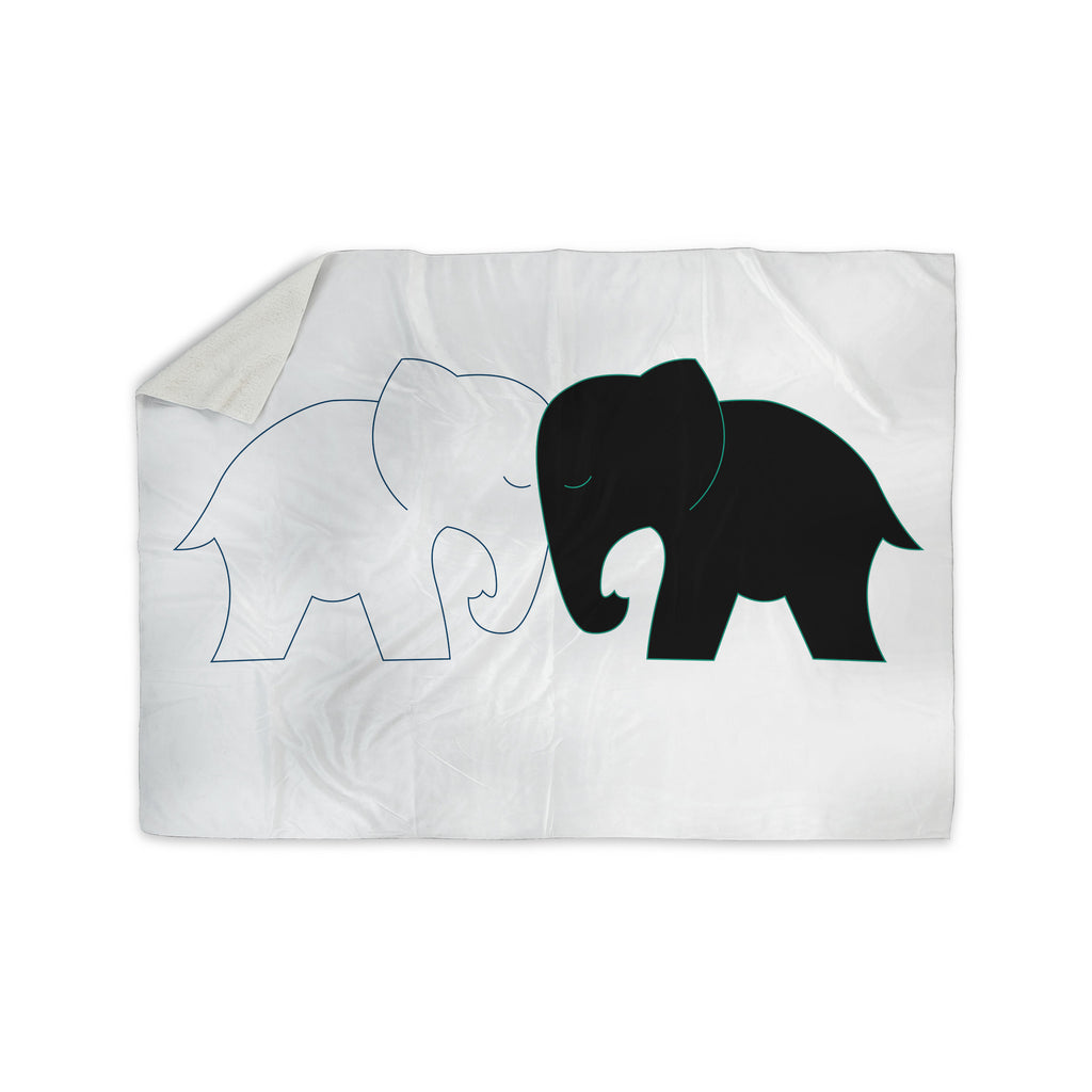 "NL Designs ""Black And White Elephant Love"" Black White Sherpa Blanket - KESS InHouse  - 1"