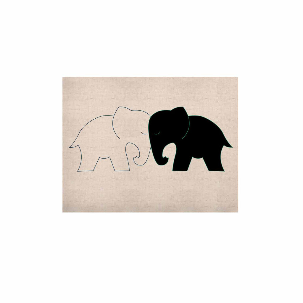 "NL Designs ""Black And White Elephant Love"" Black White KESS Naturals Canvas (Frame not Included) - KESS InHouse  - 1"