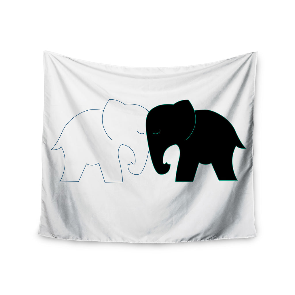 "NL Designs ""Black And White Elephant Love"" Black White Wall Tapestry - KESS InHouse  - 1"