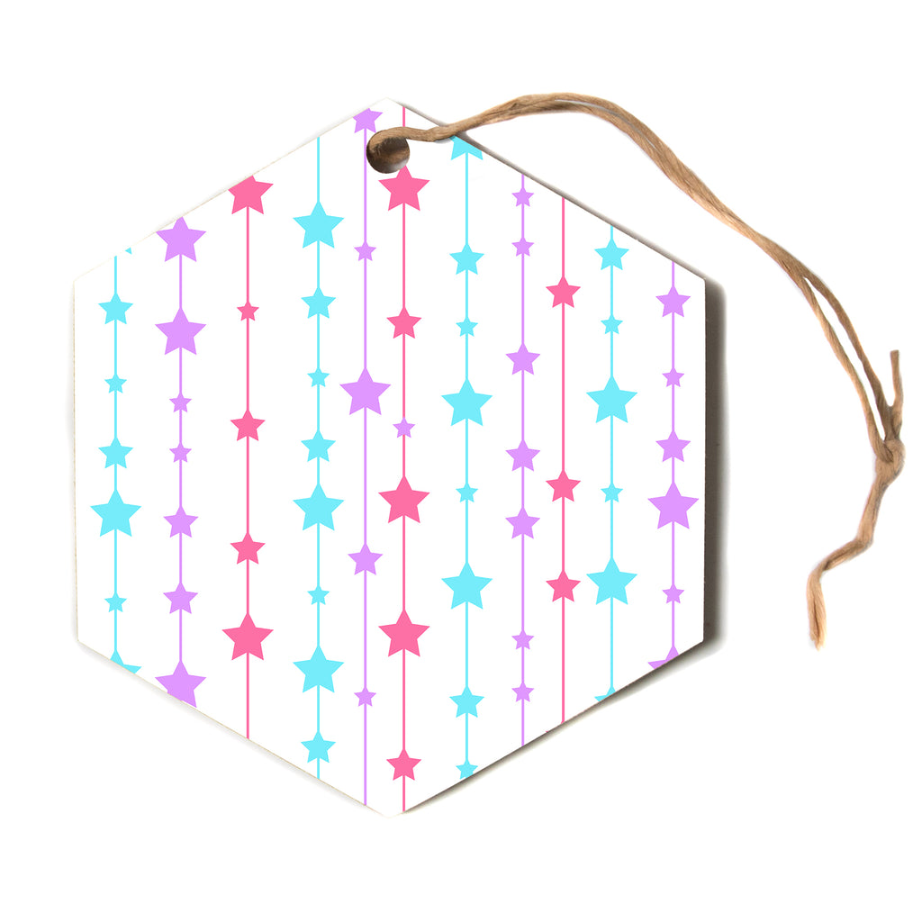 "NL designs ""Pastel Stars"" Pastel Pattern Hexagon Holiday Ornament"
