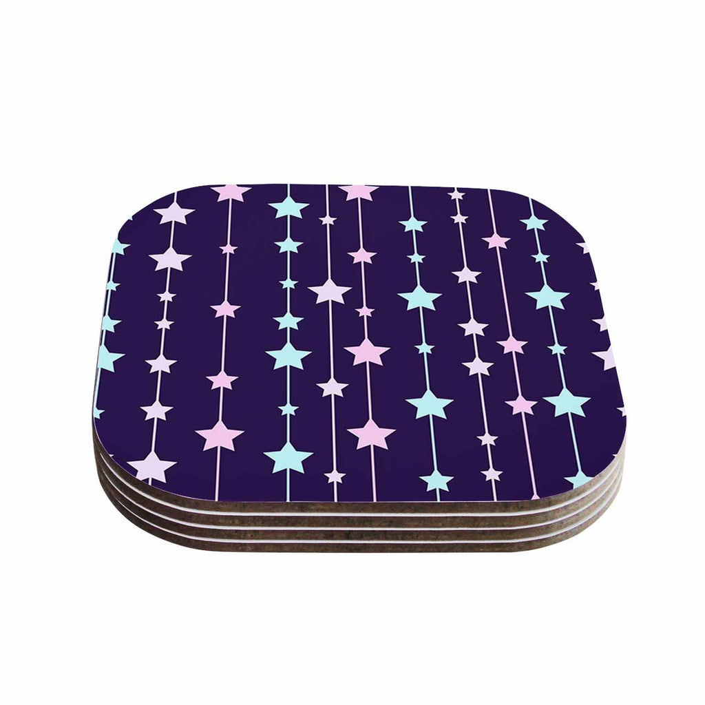 "NL Designs ""Twinkle Twinkle LIttle Star"" Purple Pastel Coasters (Set of 4)"