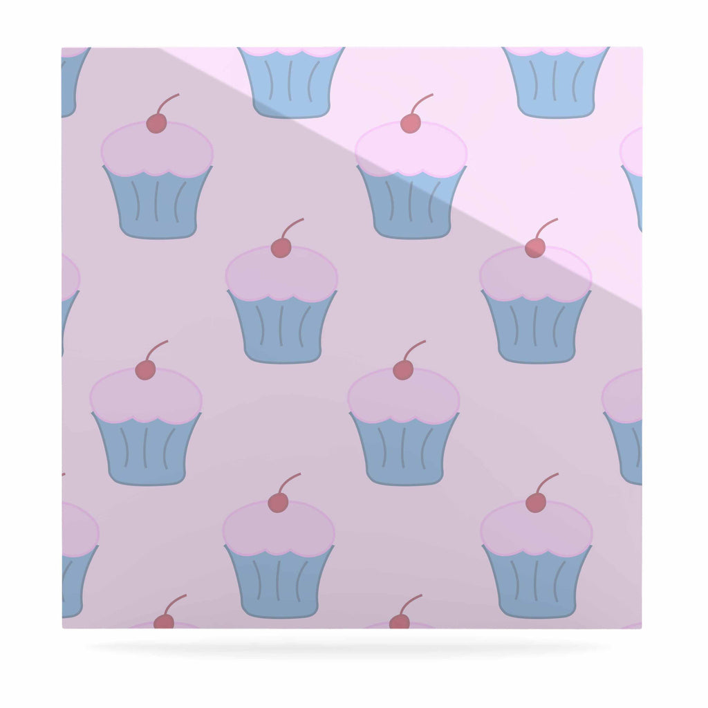 "NL Designs ""Pink Cupcakes"" Blue Blush Luxe Square Panel - KESS InHouse  - 1"