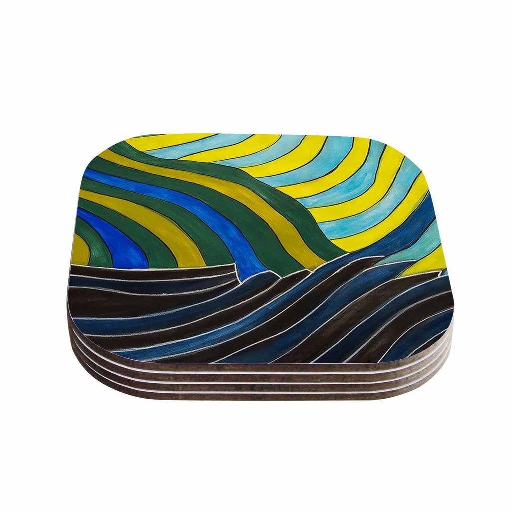 "NL Designs ""Desert Waves"" Yellow Blue Coasters (Set of 4)"