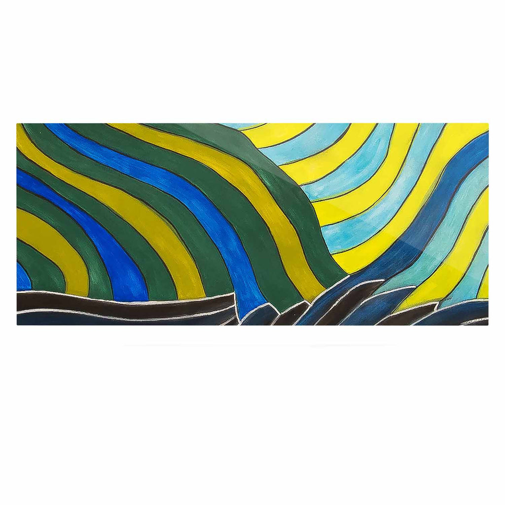 "NL Designs ""Desert Waves"" Yellow Blue Luxe Rectangle Panel - KESS InHouse  - 1"