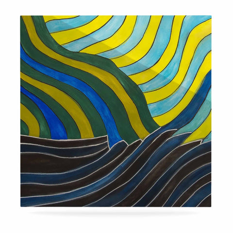 "NL Designs ""Desert Waves"" Yellow Blue Luxe Square Panel - KESS InHouse  - 1"