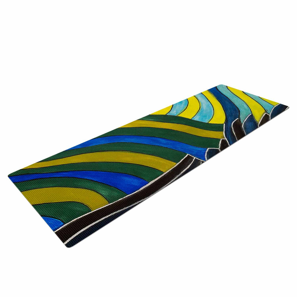 "NL Designs ""Desert Waves"" Yellow Blue Yoga Mat - KESS InHouse  - 1"