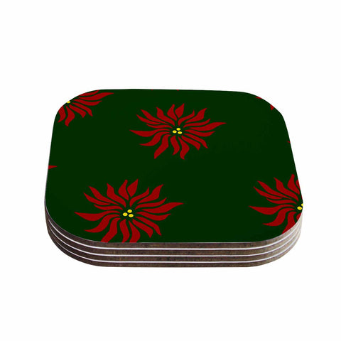"NL Designs ""Poinsettias"" Green Red Coasters (Set of 4)"