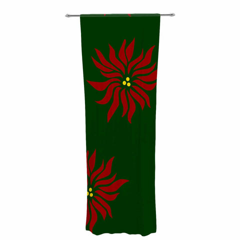"NL Designs ""Poinsettias"" Green Red Decorative Sheer Curtain - KESS InHouse  - 1"