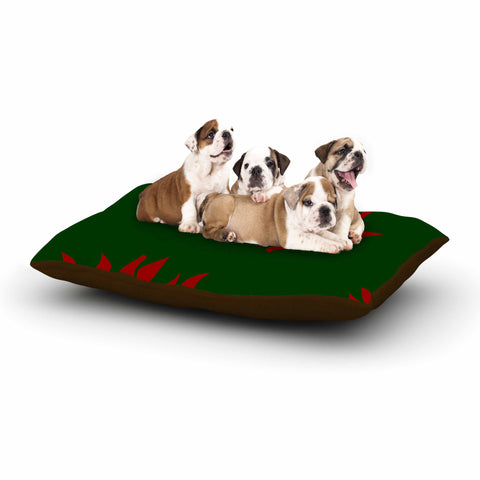 "NL Designs ""Poinsettias"" Green Red Dog Bed - KESS InHouse  - 1"