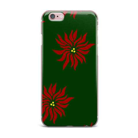 "NL Designs ""Poinsettias"" Green Red iPhone Case - KESS InHouse"