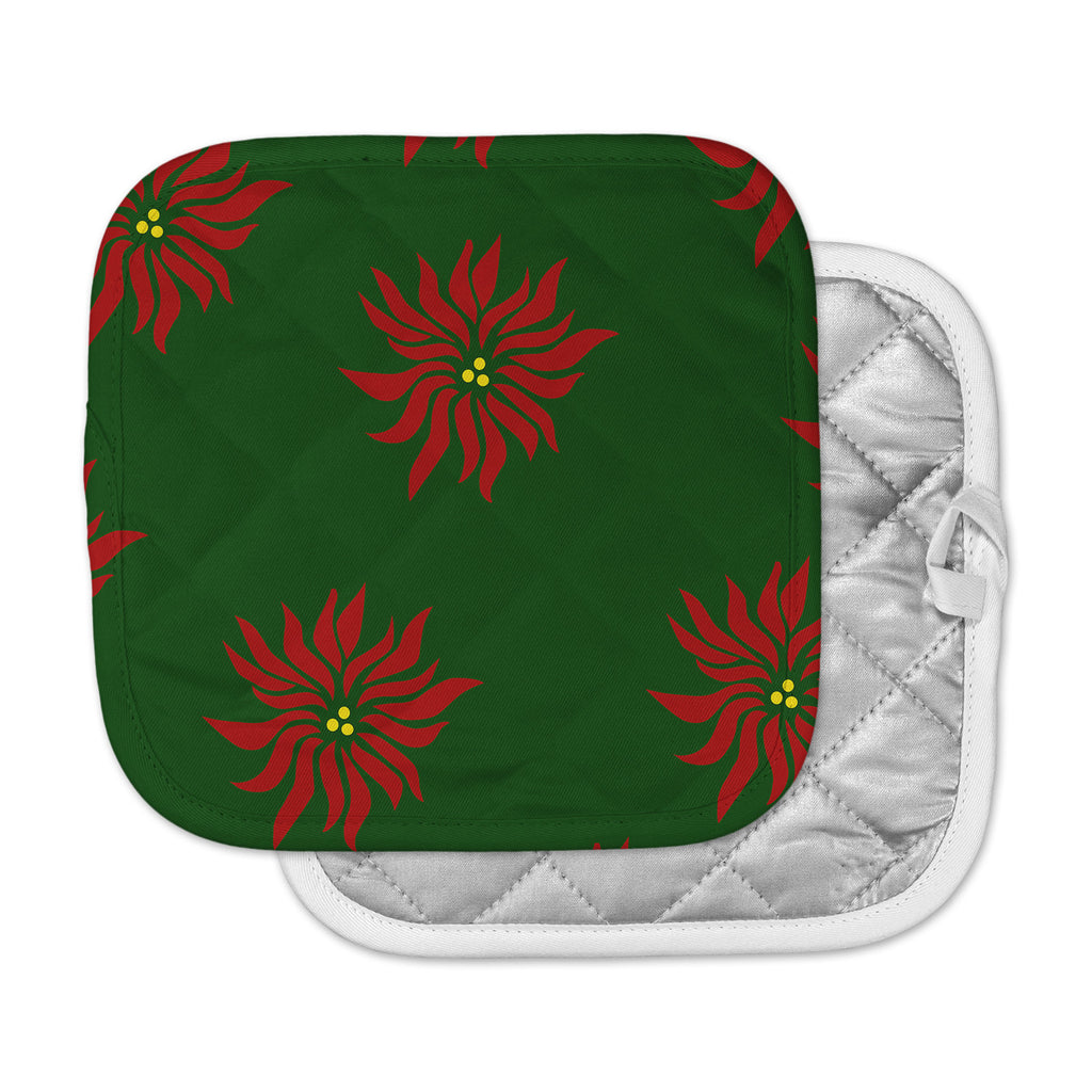 "NL Designs ""Poinsettias"" Green Red Pot Holder"