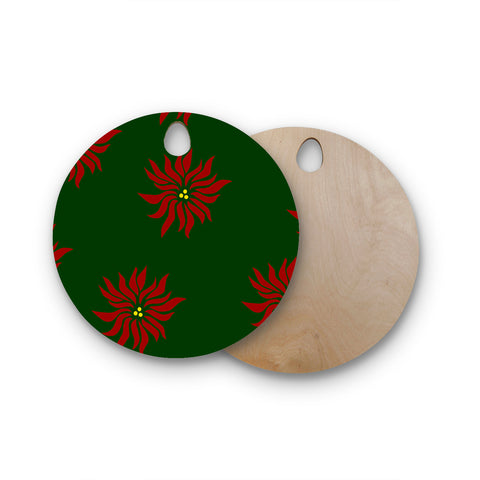 "NL Designs ""Poinsettias"" Green Red Round Wooden Cutting Board"