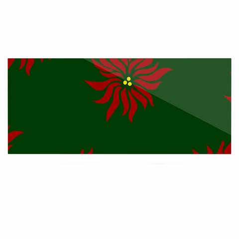 "NL Designs ""Poinsettias"" Green Red Luxe Rectangle Panel - KESS InHouse  - 1"