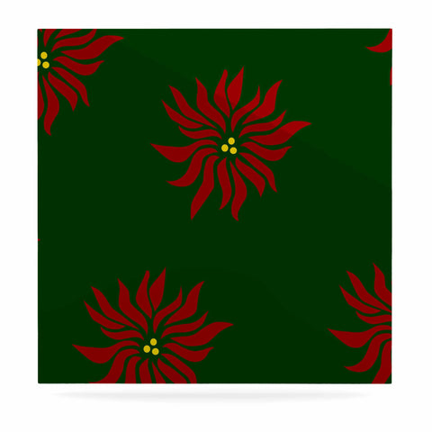 "NL Designs ""Poinsettias"" Green Red Luxe Square Panel - KESS InHouse  - 1"