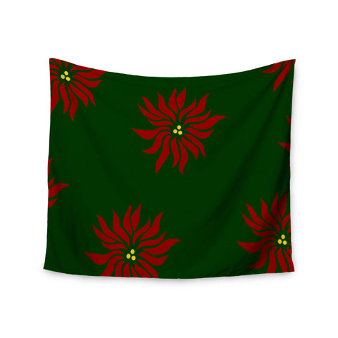 "NL Designs ""Poinsettias"" Green Red Wall Tapestry - KESS InHouse"