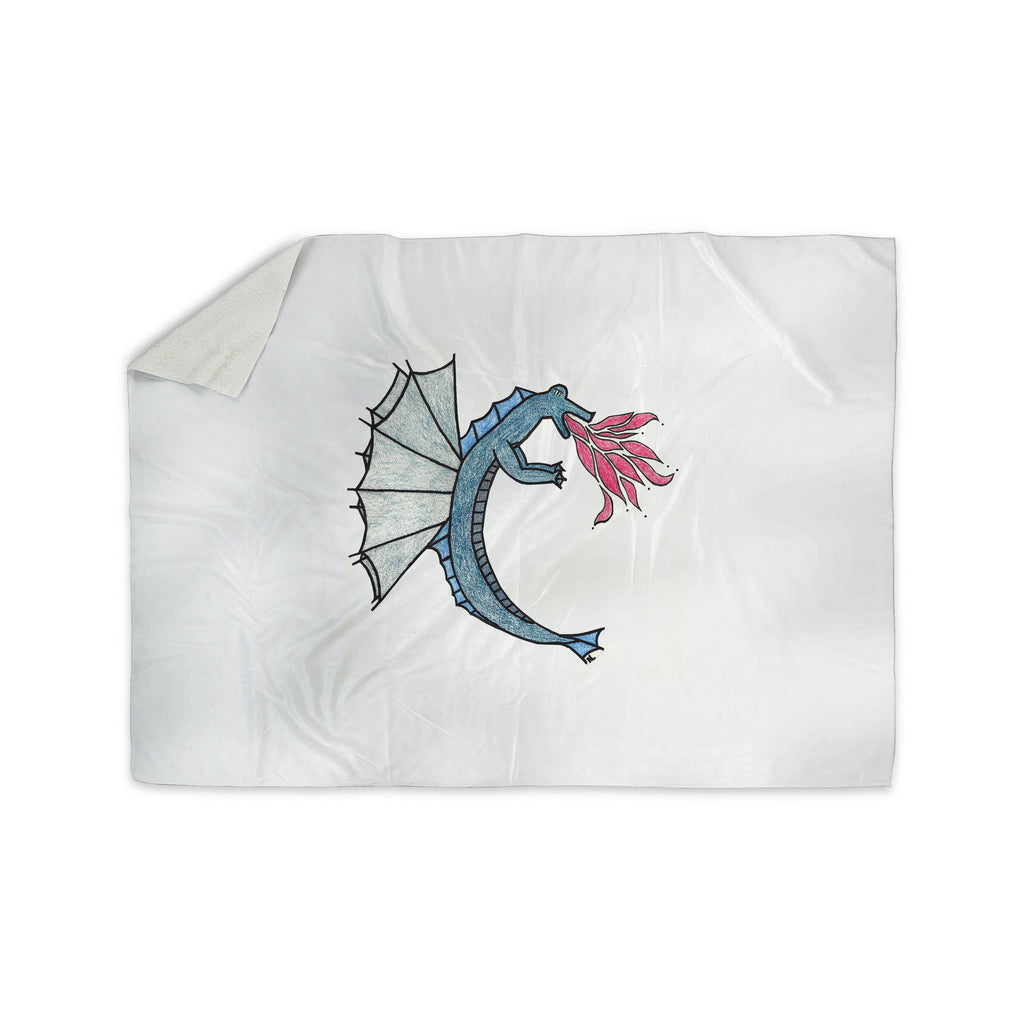 "NL Designs ""Water Dragon"" Blue White Sherpa Blanket - KESS InHouse  - 1"