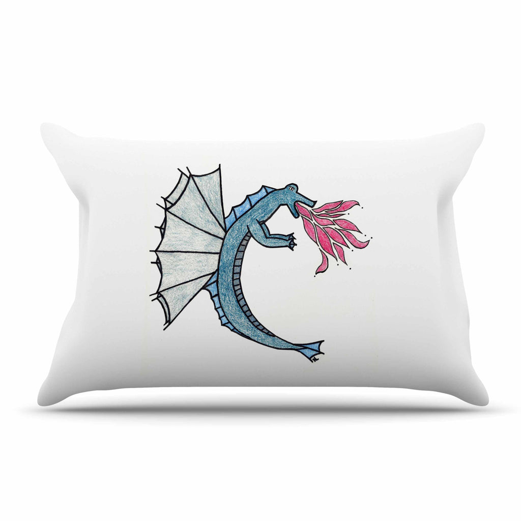 "NL Designs ""Water Dragon"" Blue White Pillow Sham - KESS InHouse"