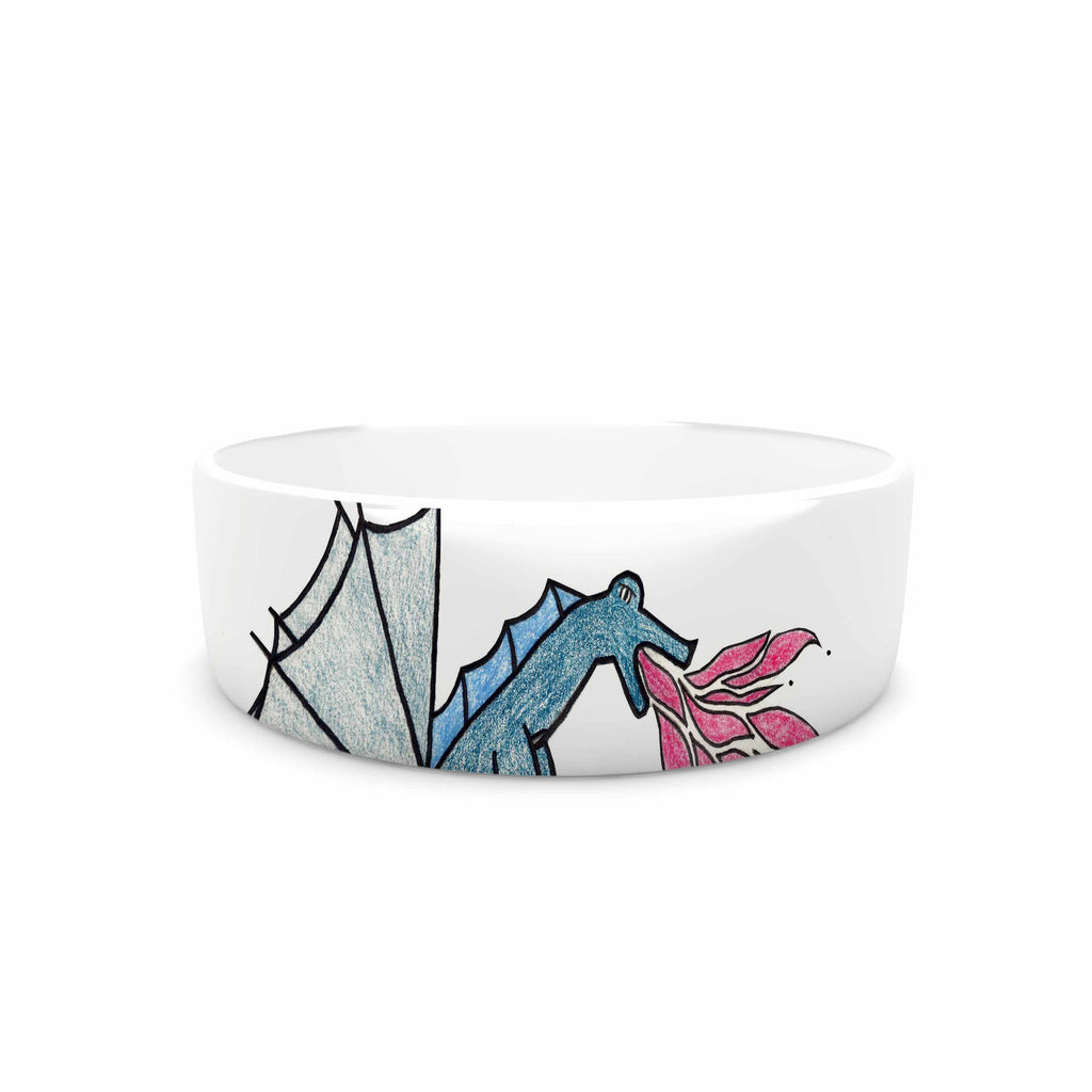 "NL Designs ""Water Dragon"" Blue White Pet Bowl - KESS InHouse"