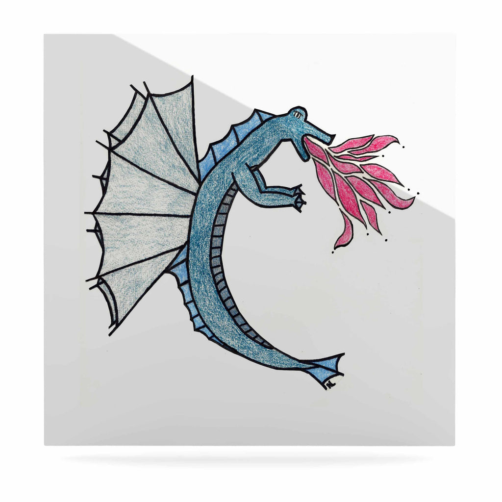 "NL Designs ""Water Dragon"" Blue White Luxe Square Panel - KESS InHouse  - 1"
